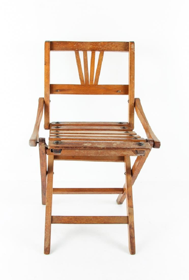 Child's Oak Folding Camping Chair Early 20th Century - 2