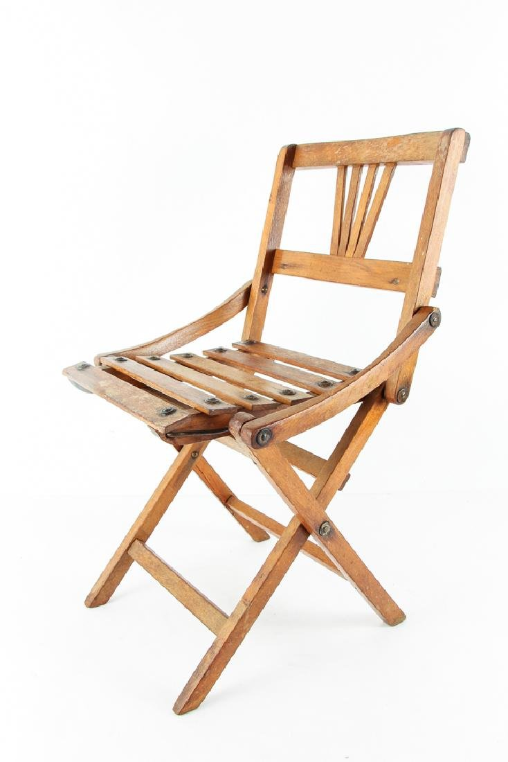 Child's Oak Folding Camping Chair Early 20th Century - 3