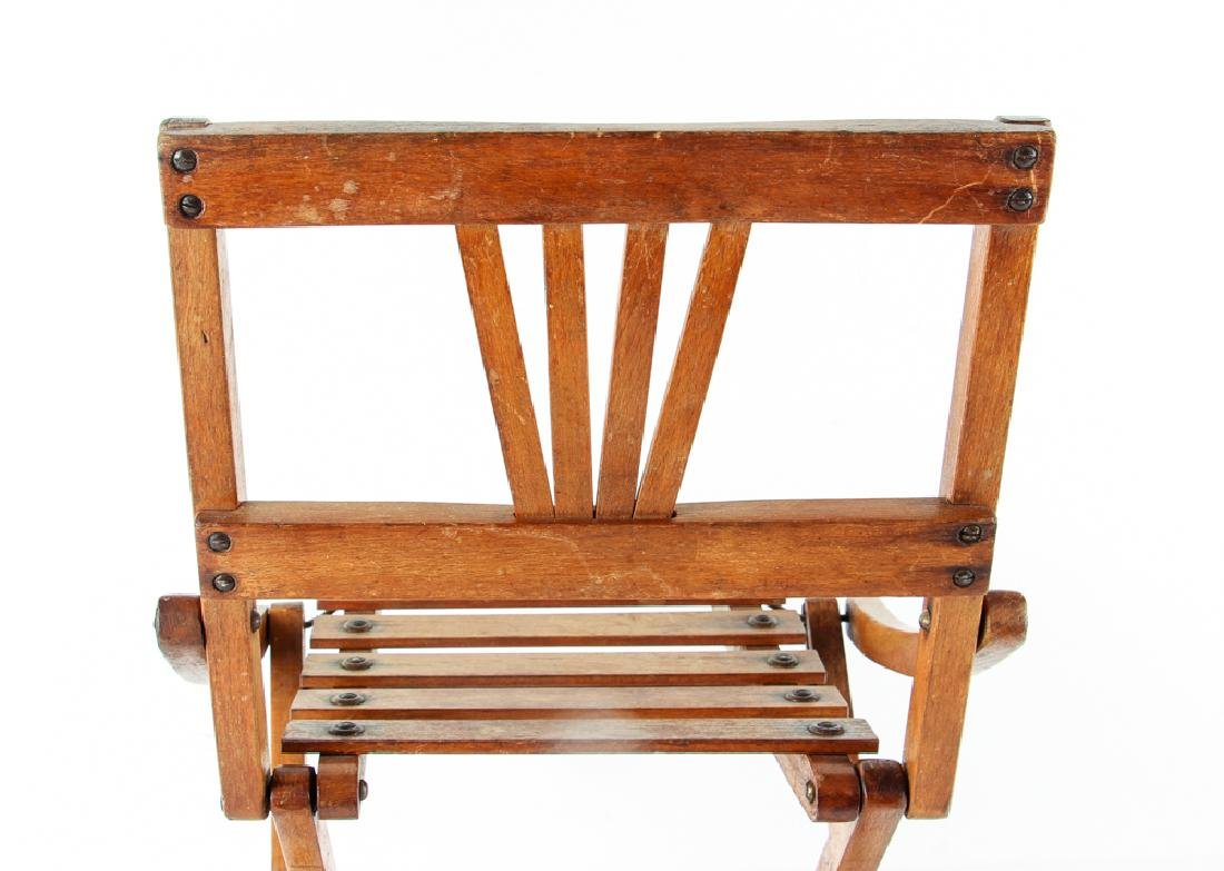 Child's Oak Folding Camping Chair Early 20th Century - 4