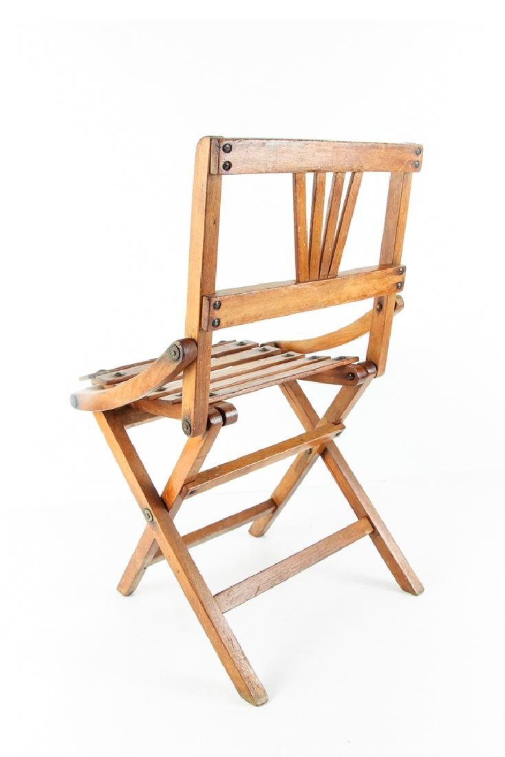 Child's Oak Folding Camping Chair Early 20th Century - 5