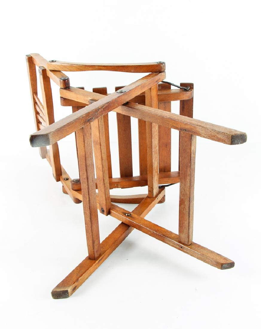 Child's Oak Folding Camping Chair Early 20th Century - 7