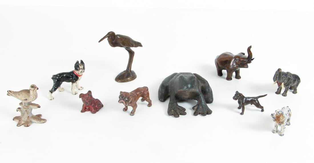Ten Metal Animal Form Paperweights, Doorstops, Etc.
