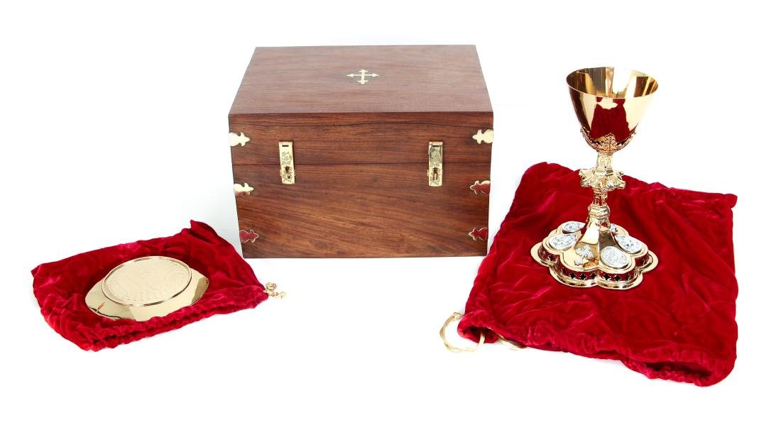 Vintage Chalice and Paten in Wood Case