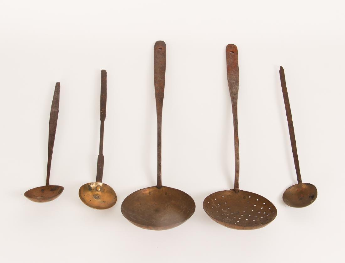 Five Antique Brass Utensils