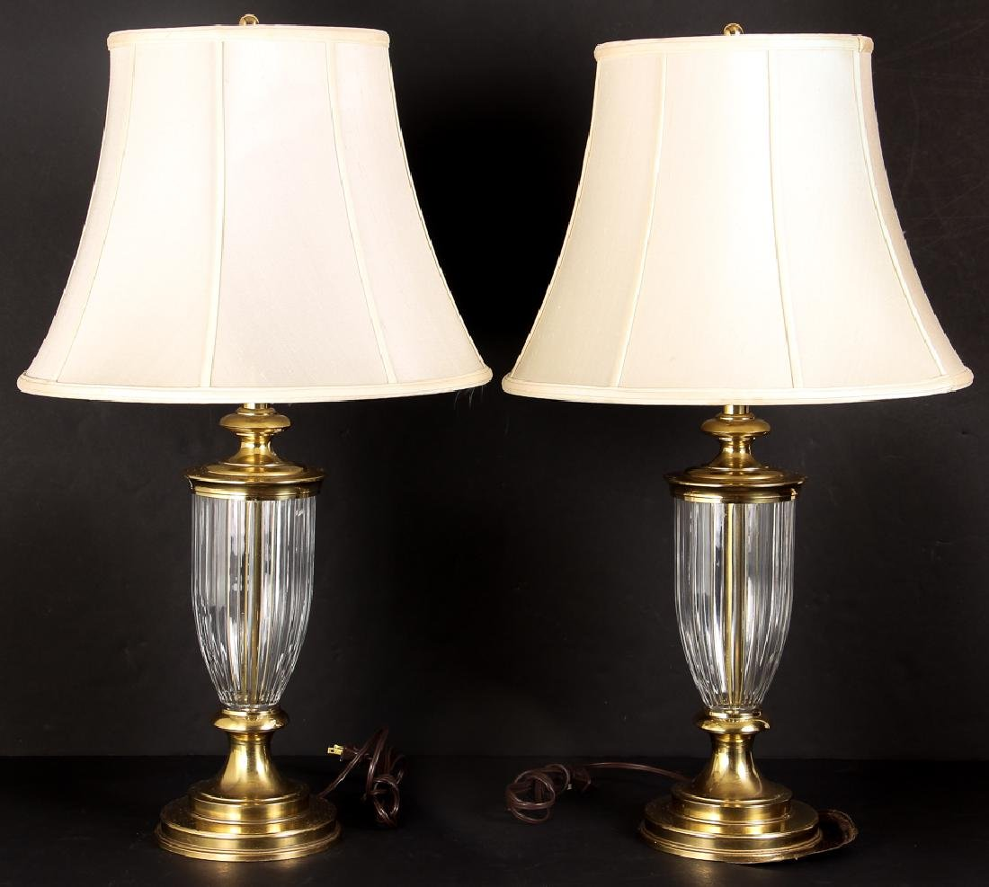Pair of Brass and Crystal Lamps by Stiffel