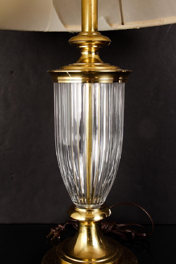 Pair of Brass and Crystal Lamps by Stiffel - 4