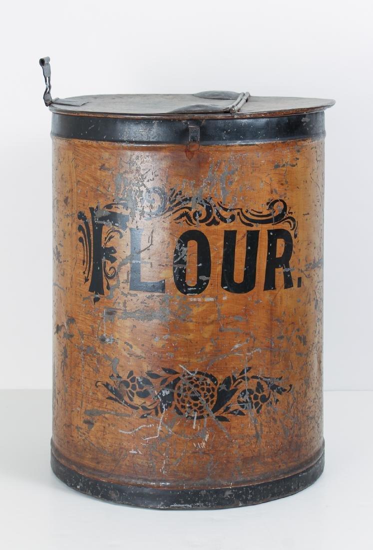Large Antique Tole Painted Flour Bin