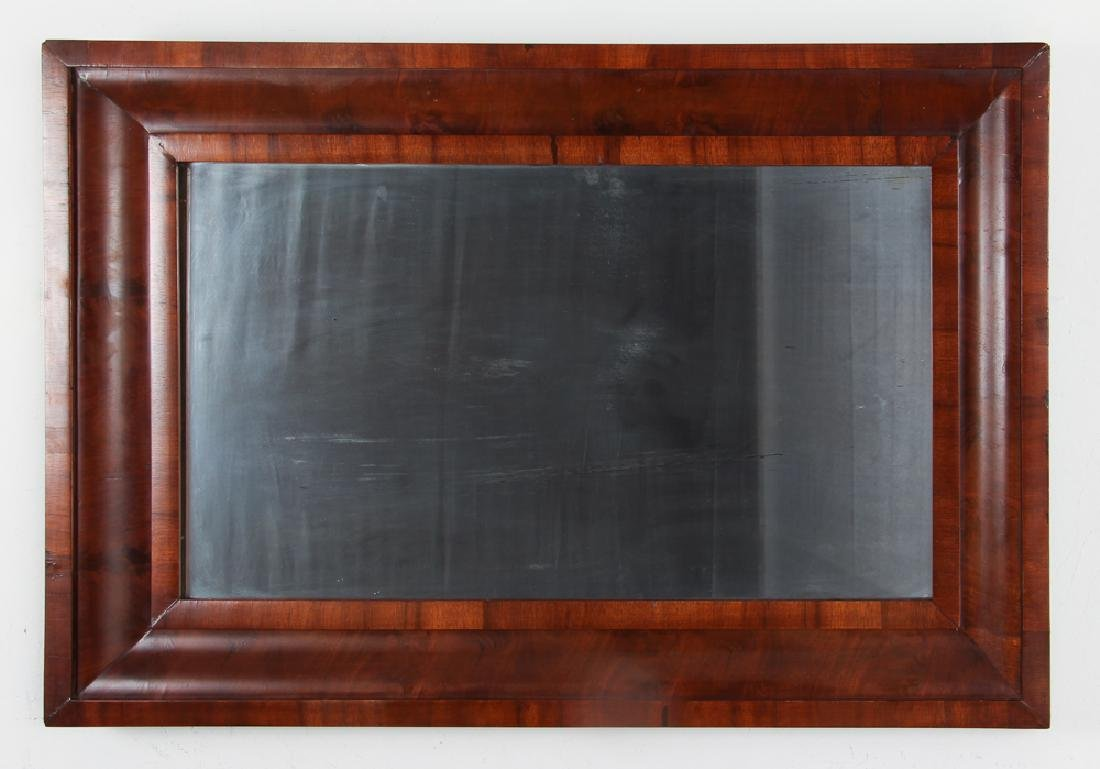 Antique Empire Mahogany Ogee Veneer Mirror