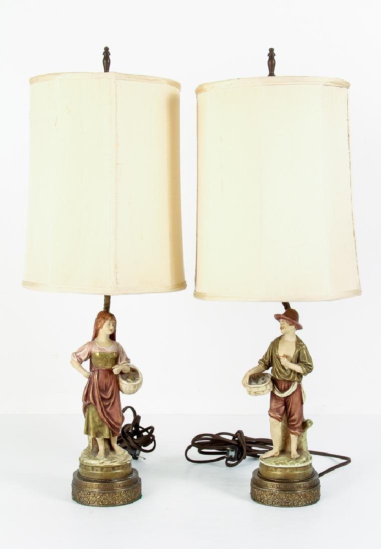 Pair Italian Peasant Porcelains As Lamps