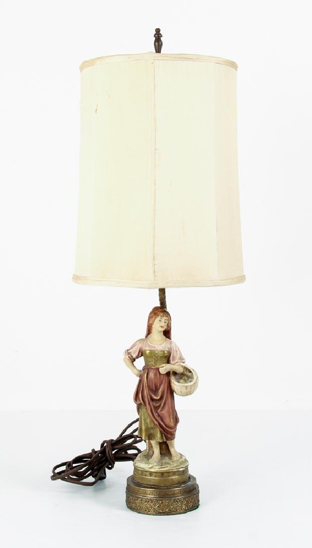 Pair Italian Peasant Porcelains As Lamps - 2