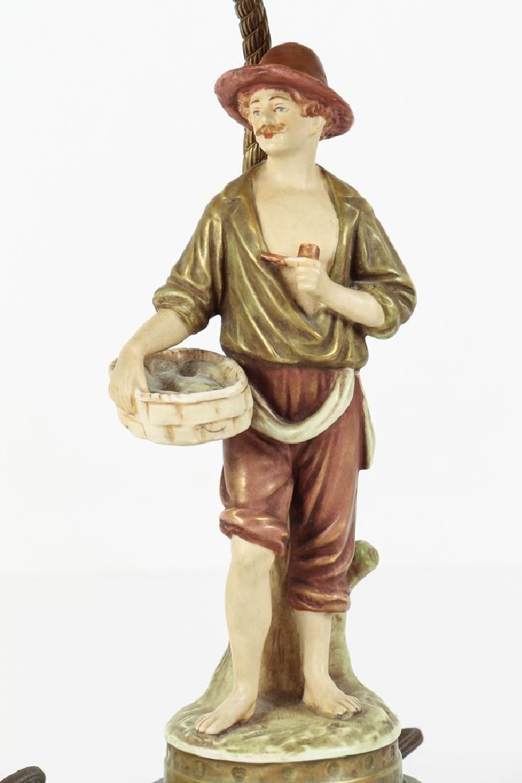 Pair Italian Peasant Porcelains As Lamps - 9