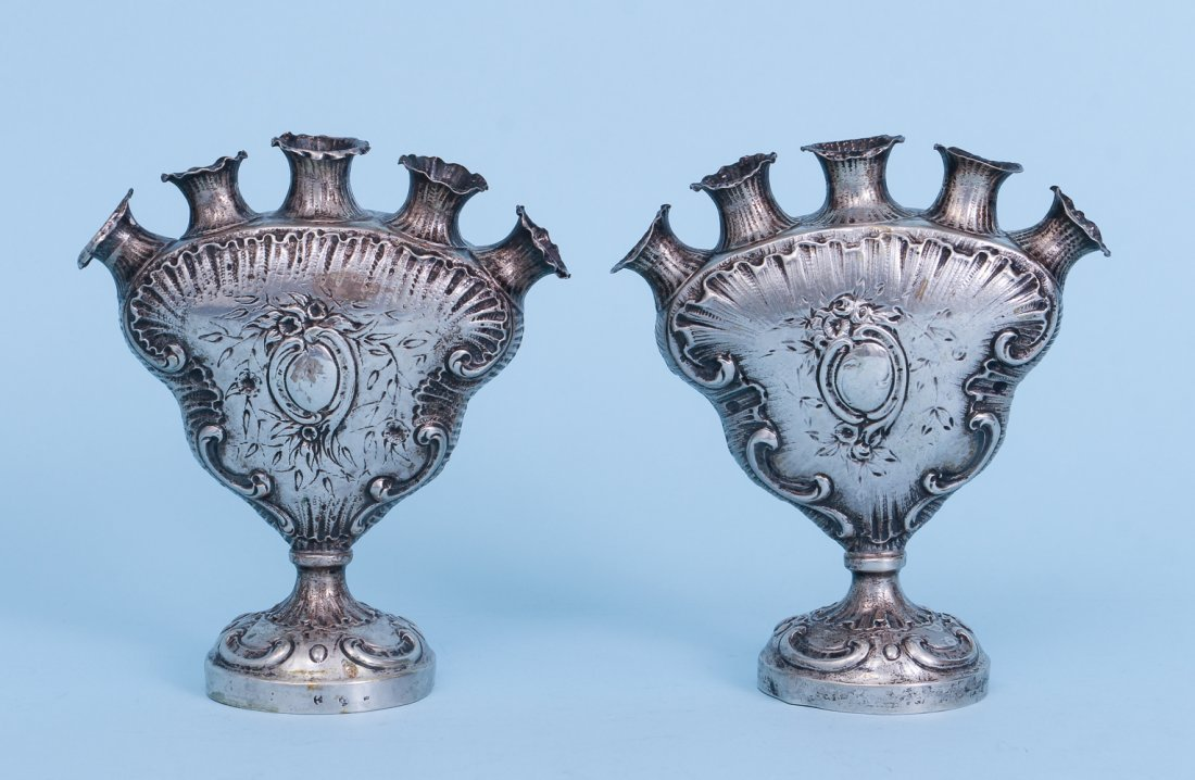 Two Unusual 800 Grade Silver Vases