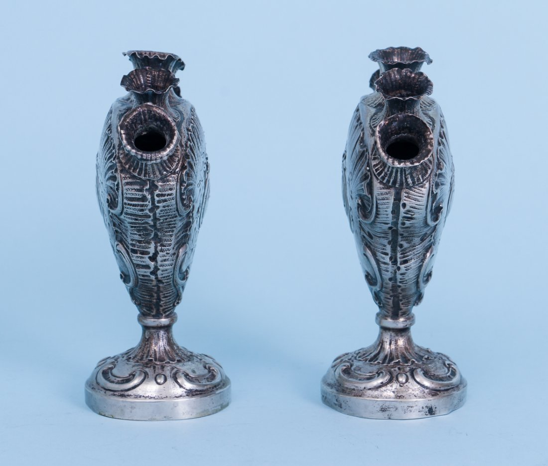 Two Unusual 800 Grade Silver Vases - 3