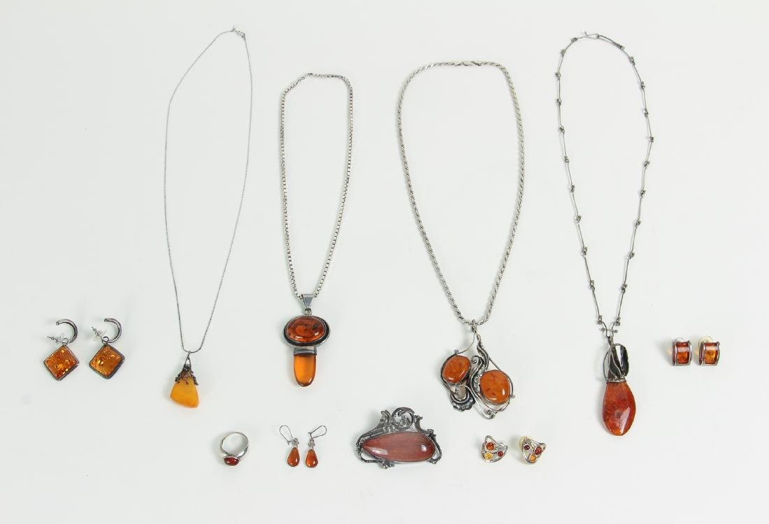 Large Group of Amber and Sterling Jewelry