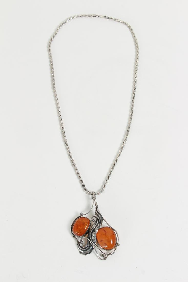 Large Group of Amber and Sterling Jewelry - 2