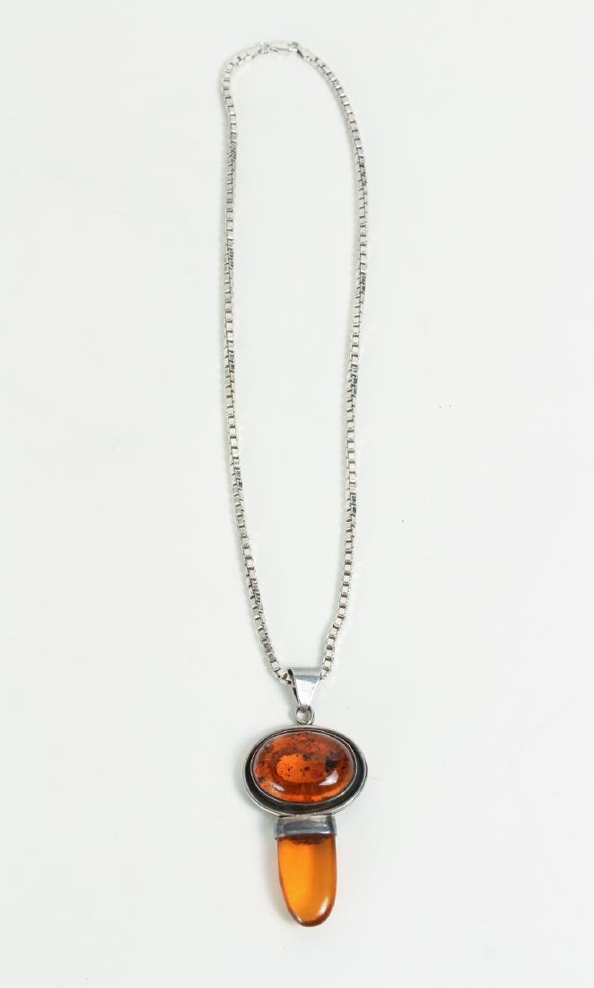 Large Group of Amber and Sterling Jewelry - 5