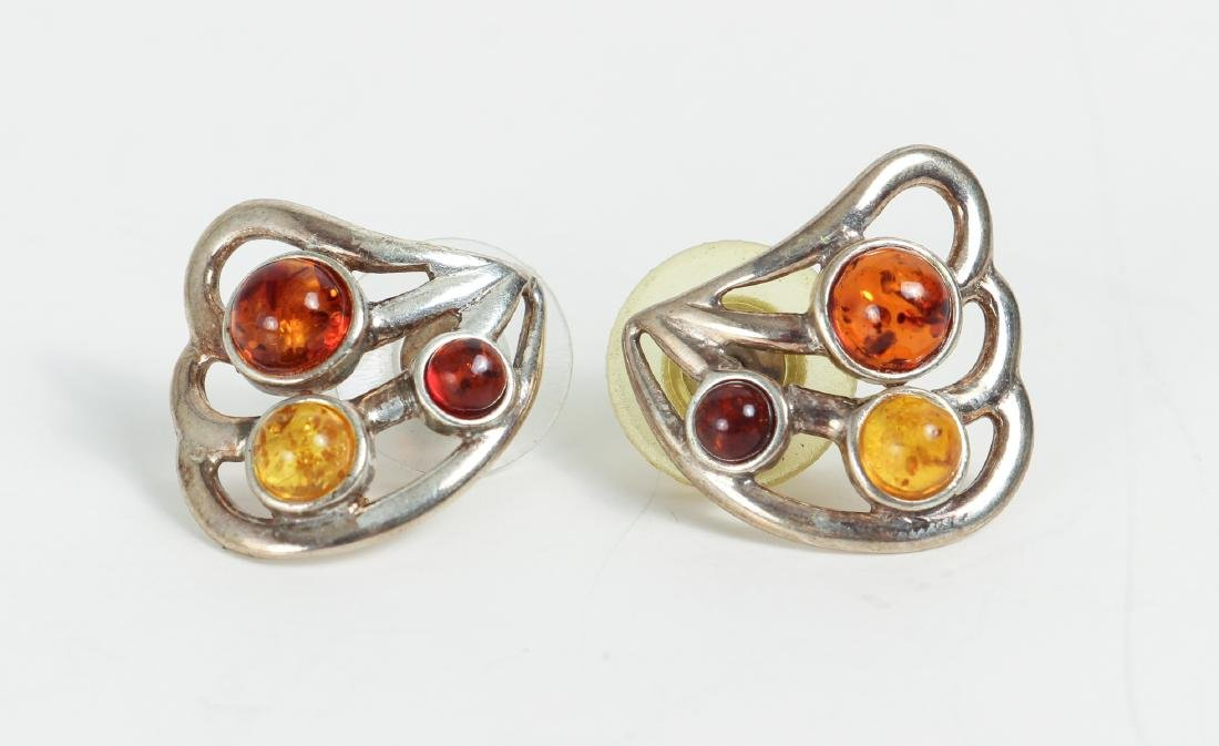 Large Group of Amber and Sterling Jewelry - 8