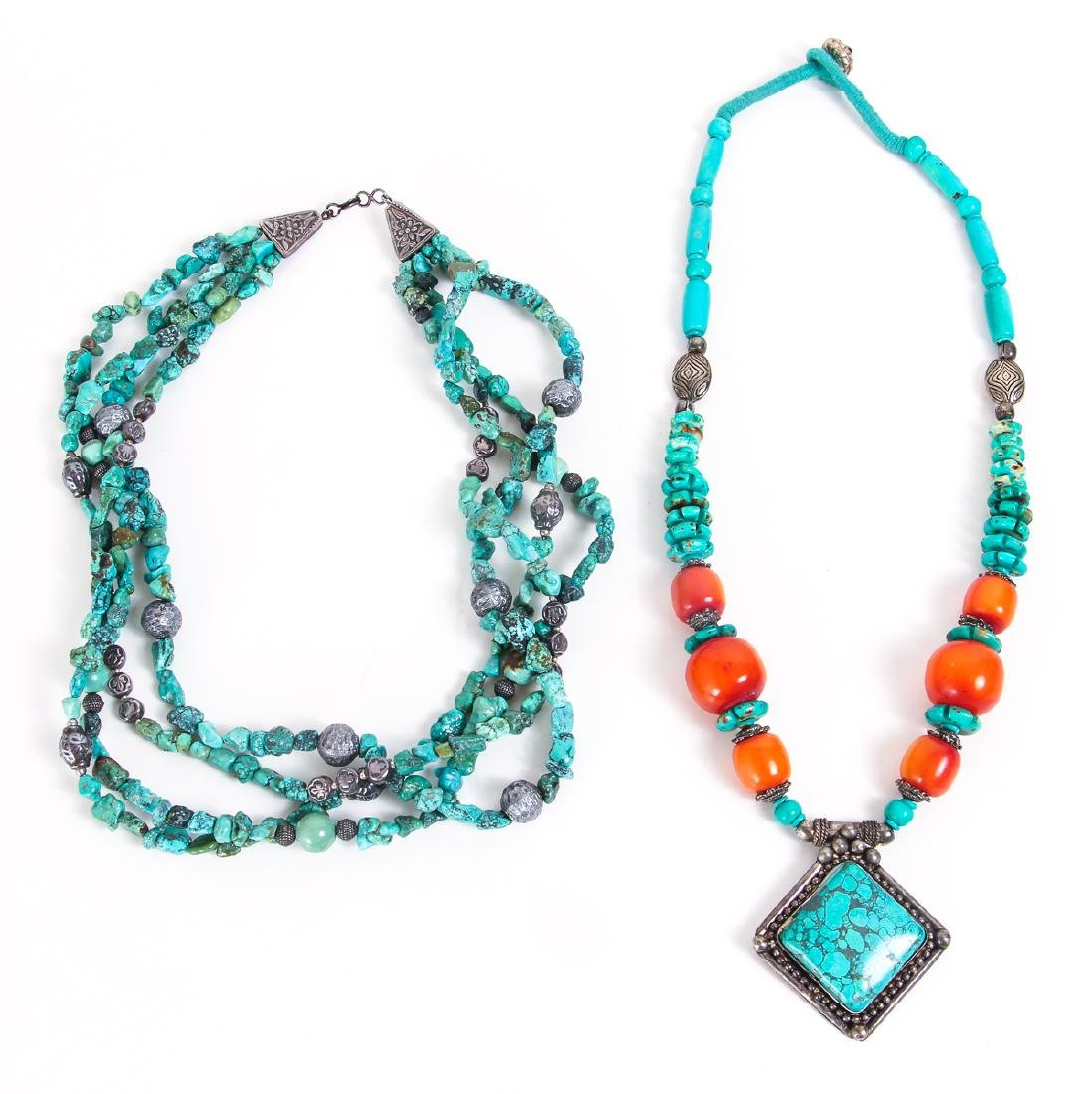 Two Chinese Turquoise and Silver Necklaces