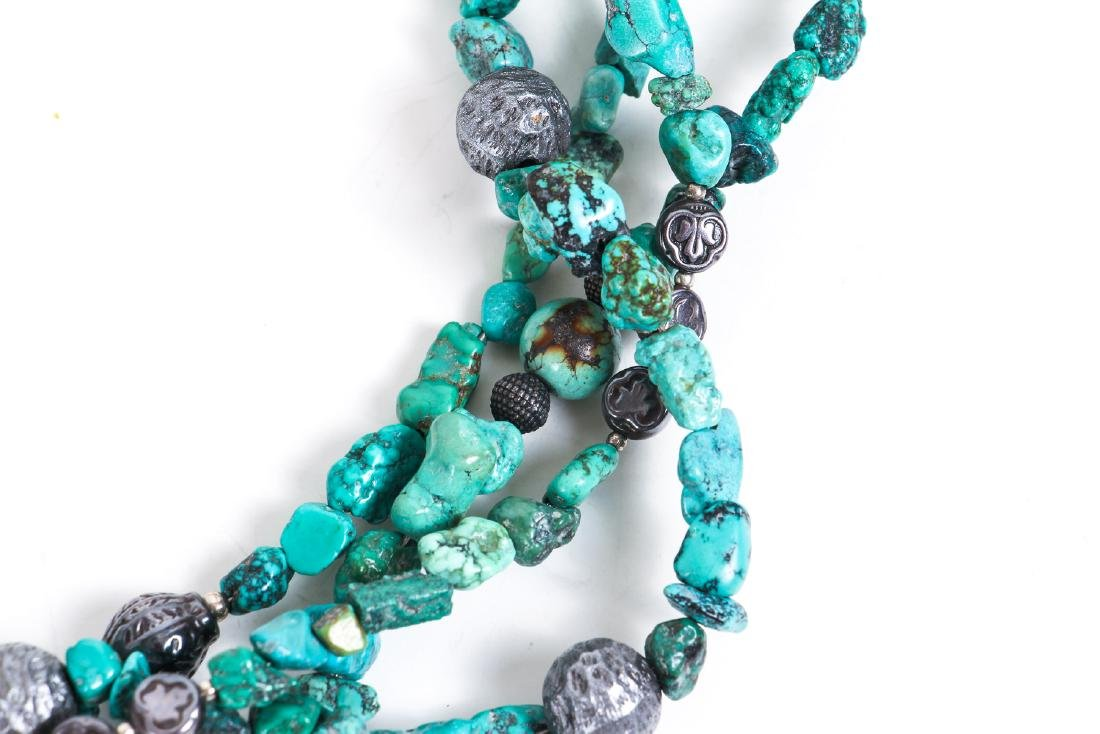 Two Chinese Turquoise and Silver Necklaces - 3