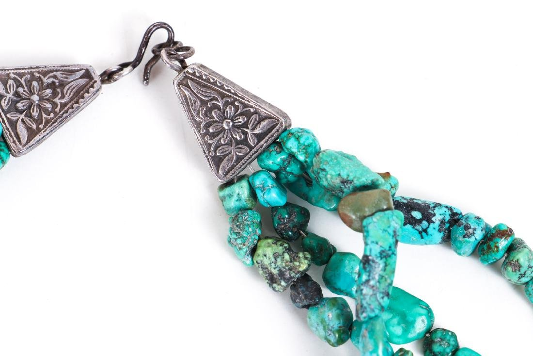 Two Chinese Turquoise and Silver Necklaces - 4