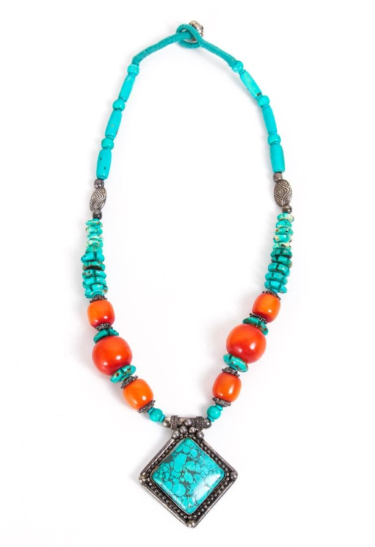 Two Chinese Turquoise and Silver Necklaces - 5