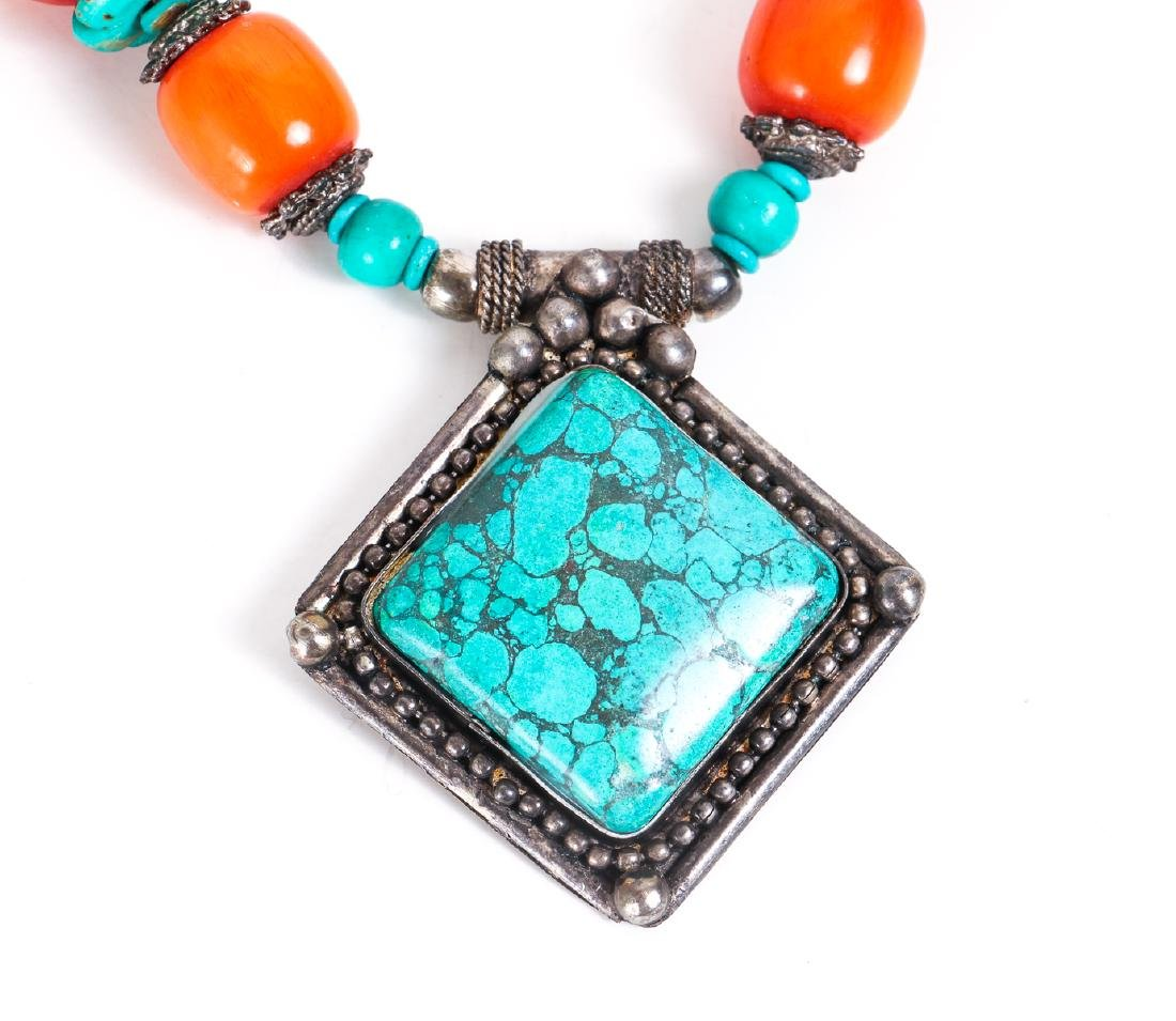 Two Chinese Turquoise and Silver Necklaces - 6