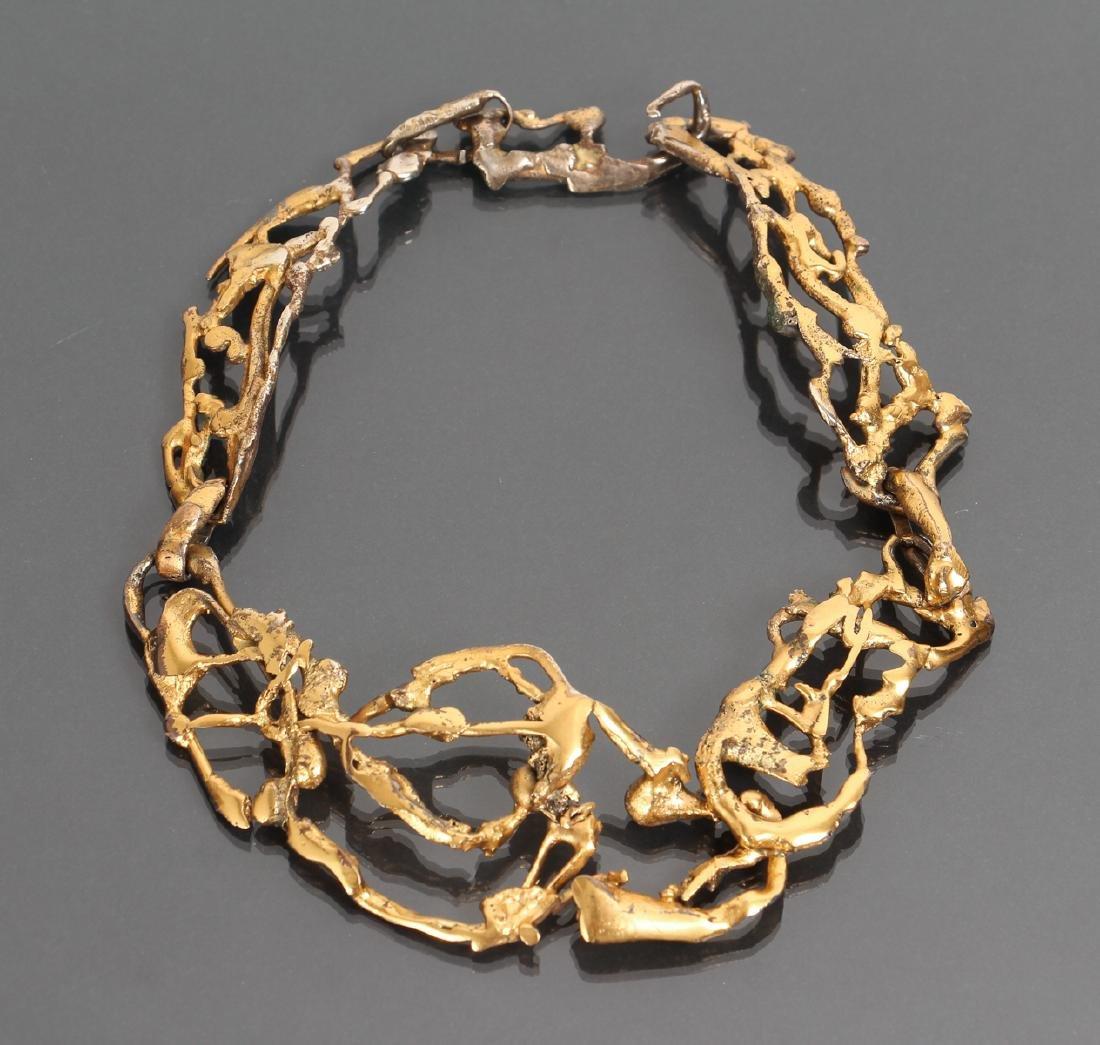 Mary Kellar Auld Gilt Metal Brutalist Necklace