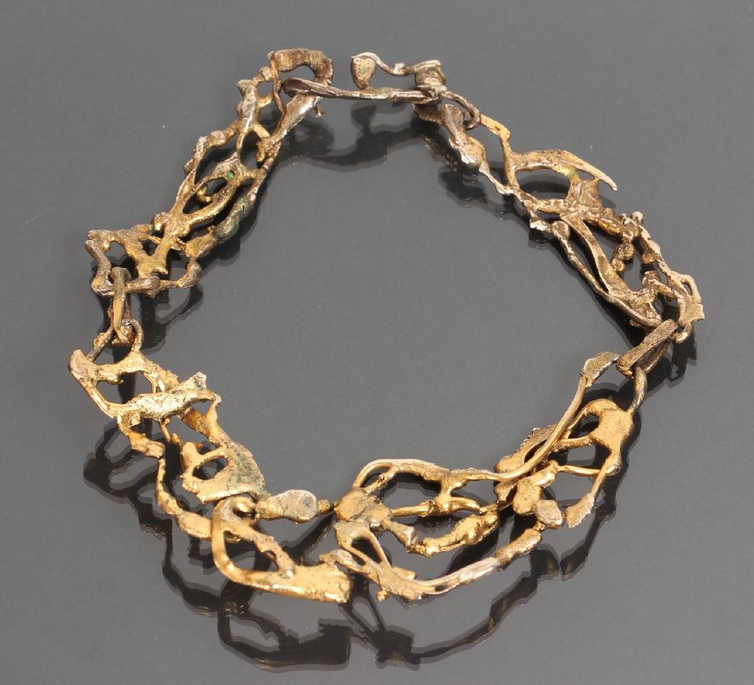 Mary Kellar Auld Gilt Metal Brutalist Necklace - 2