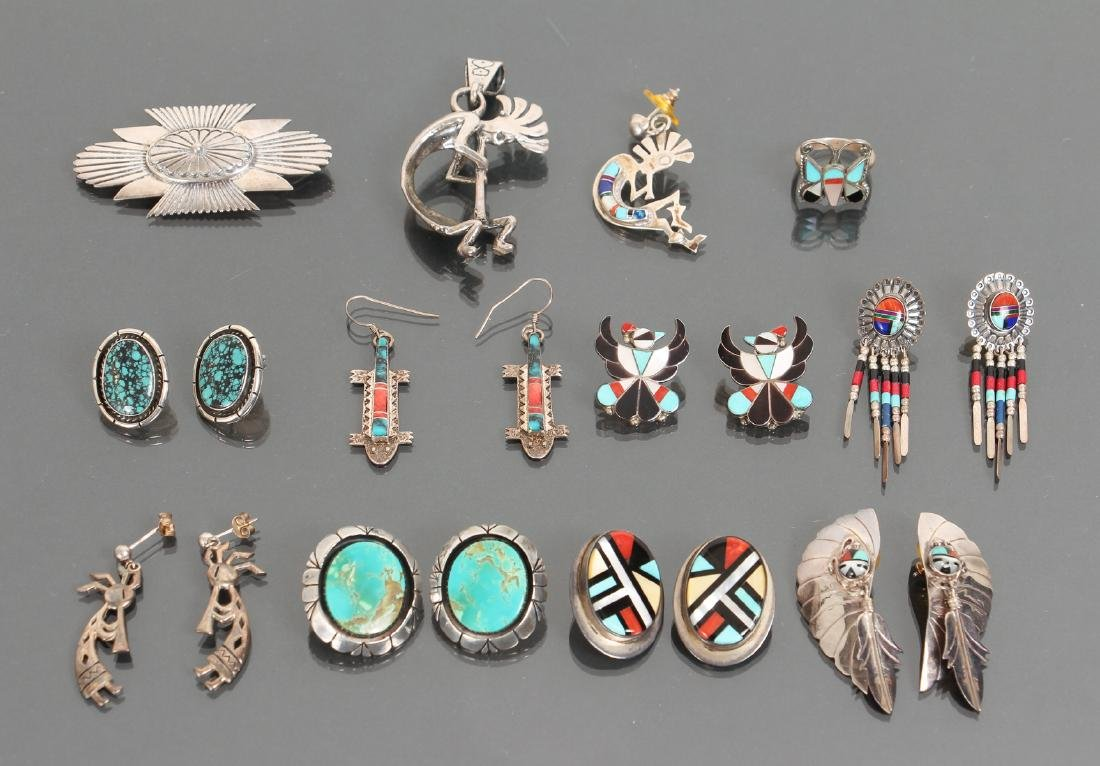 Large Group of Sterling and Stone Indian Jewelry