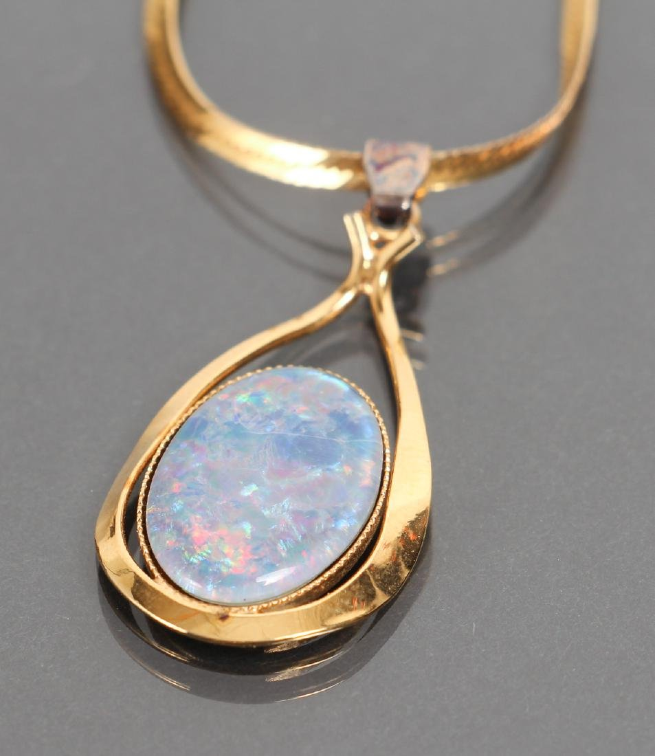 Gold Opal Pendant on Chain - 3