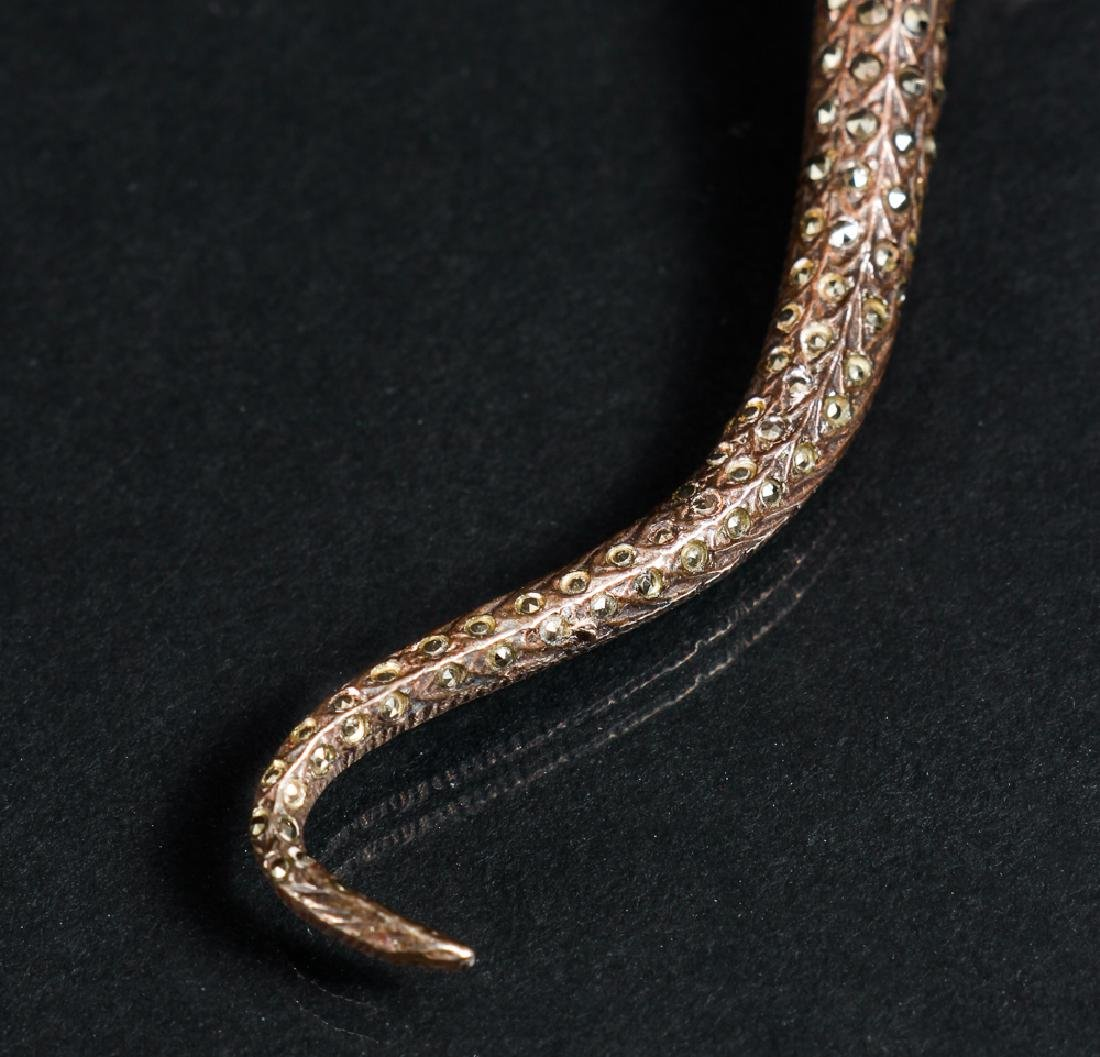 Marcasite Sterling Silver Snake Pin - 5