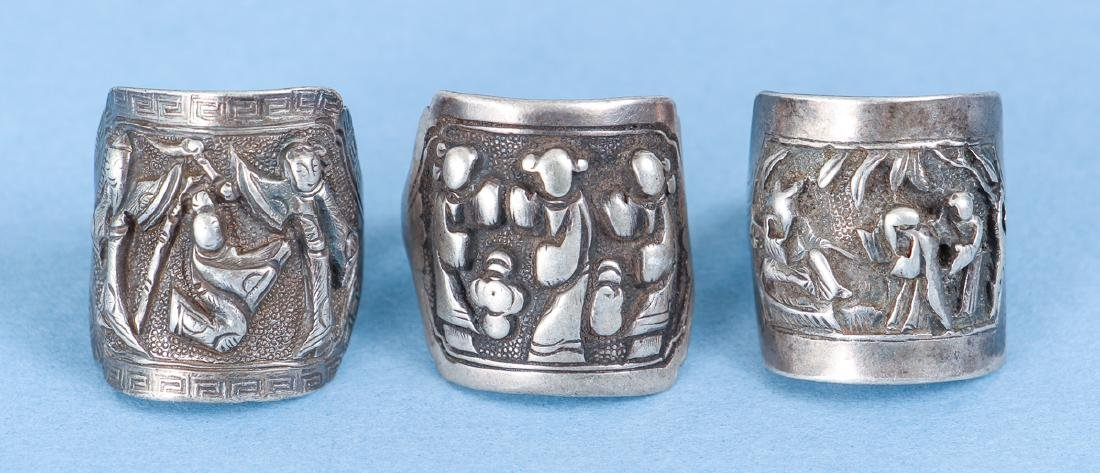 Large Group Antique Chinese Silver Rings - 2