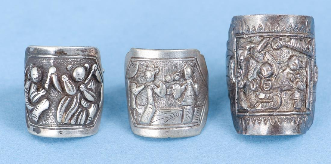 Large Group Antique Chinese Silver Rings - 9