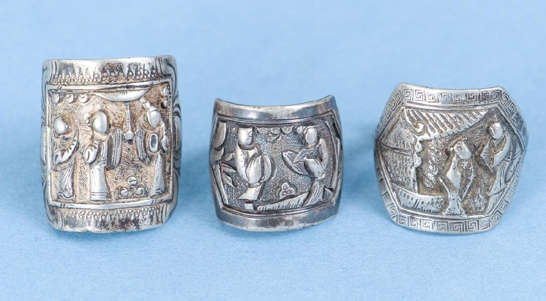 Large Group Antique Chinese Silver Rings - 3