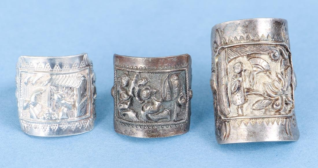 Large Group Antique Chinese Silver Rings - 5