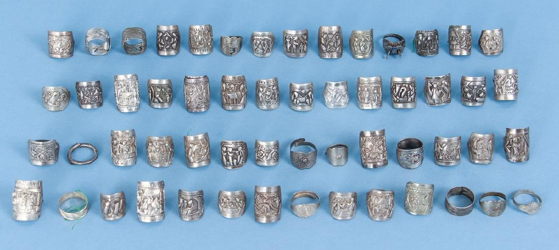 Large Group Antique Chinese Silver Rings