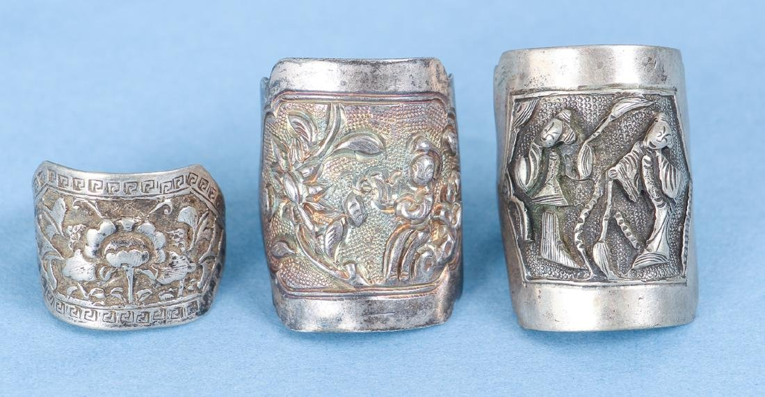 Large Group Antique Chinese Silver Rings - 10