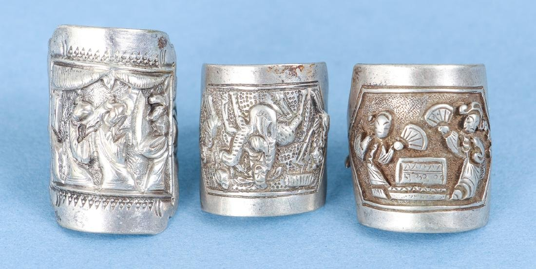 Large Group Antique Chinese Silver Rings - 4