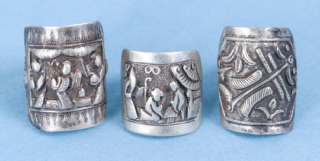 Large Group Antique Chinese Silver Rings - 6
