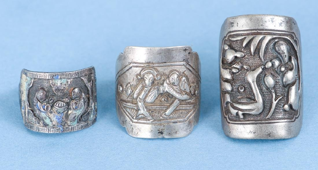 Large Group Antique Chinese Silver Rings - 7
