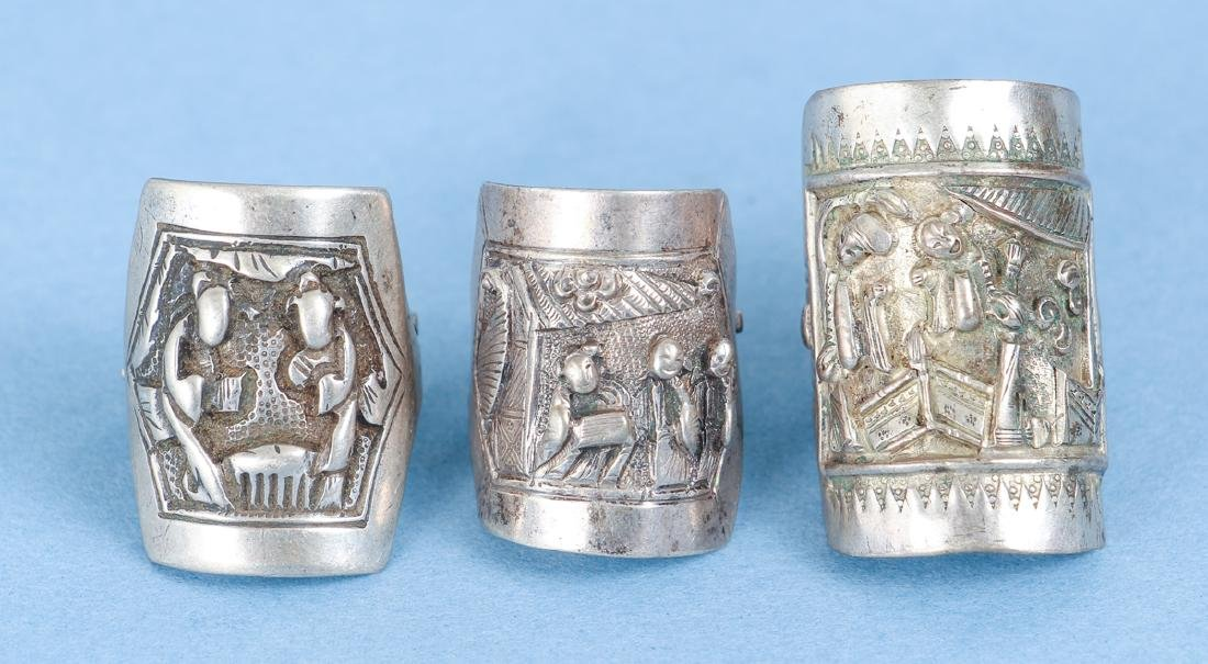 Large Group Antique Chinese Silver Rings - 8