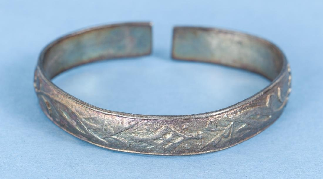 Group  of Antique Chinese Silver Bracelets - 9