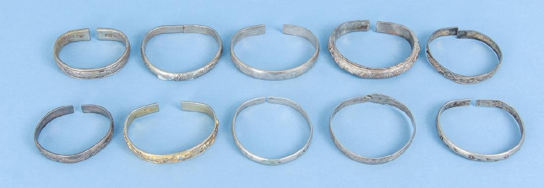 Group  of Antique Chinese Silver Bracelets