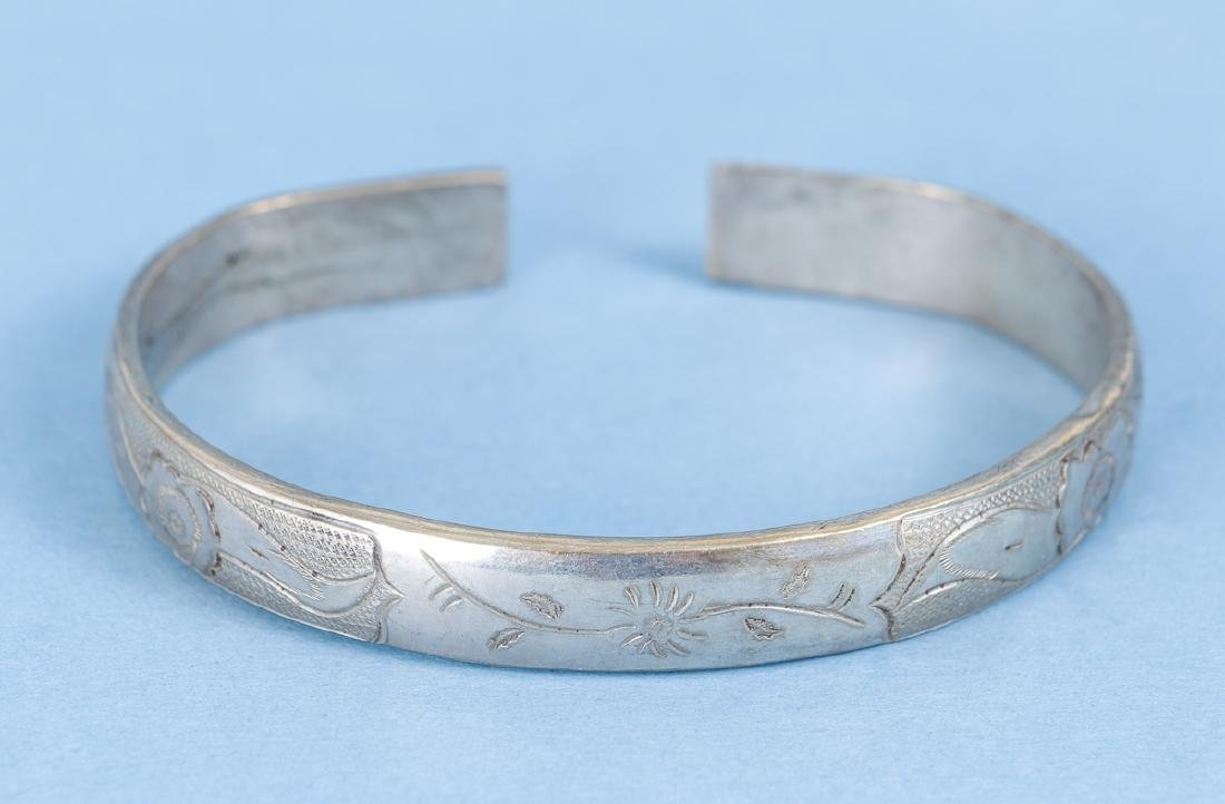 Group  of Antique Chinese Silver Bracelets - 6
