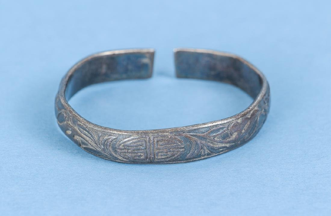 Group  of Antique Chinese Silver Bracelets - 8