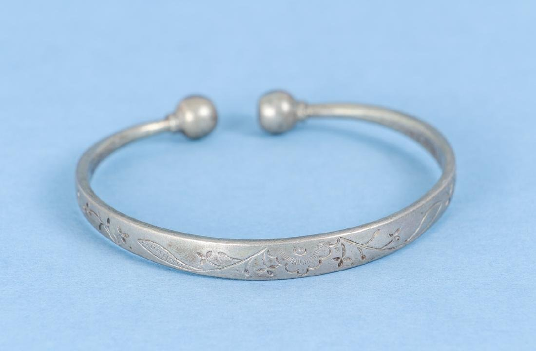 Group  of Antique Chinese Silver Bracelets - 10