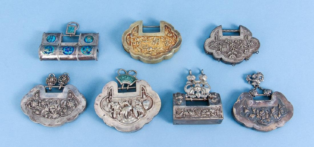 Seven Antique Chinese Baby Locks