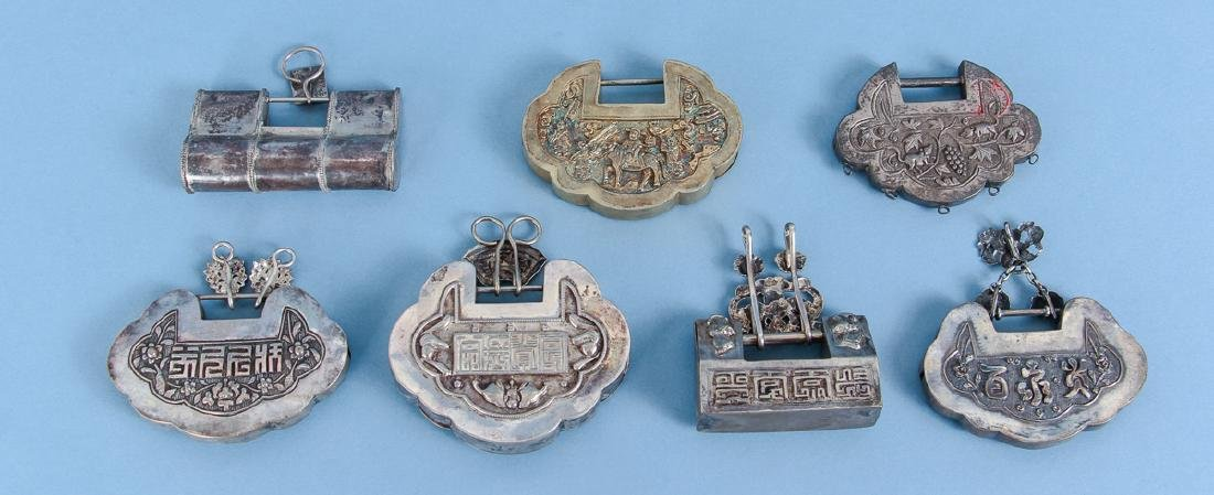 Seven Antique Chinese Baby Locks - 2
