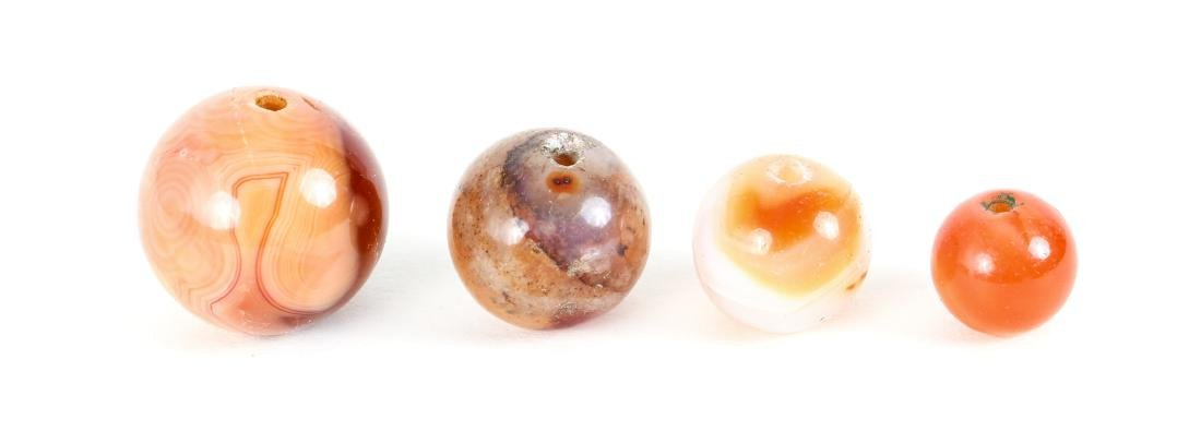 Large Group of Agate Beads Some Carved - 5