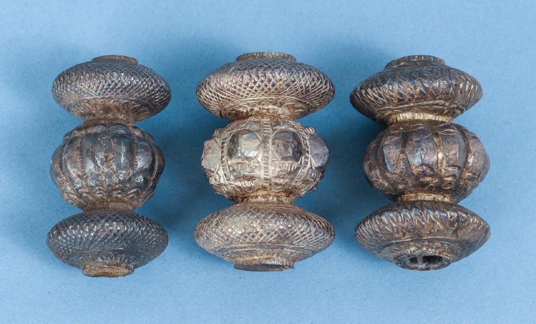 Large Group of Indian Antique Silver Buddhist Prayer - 6